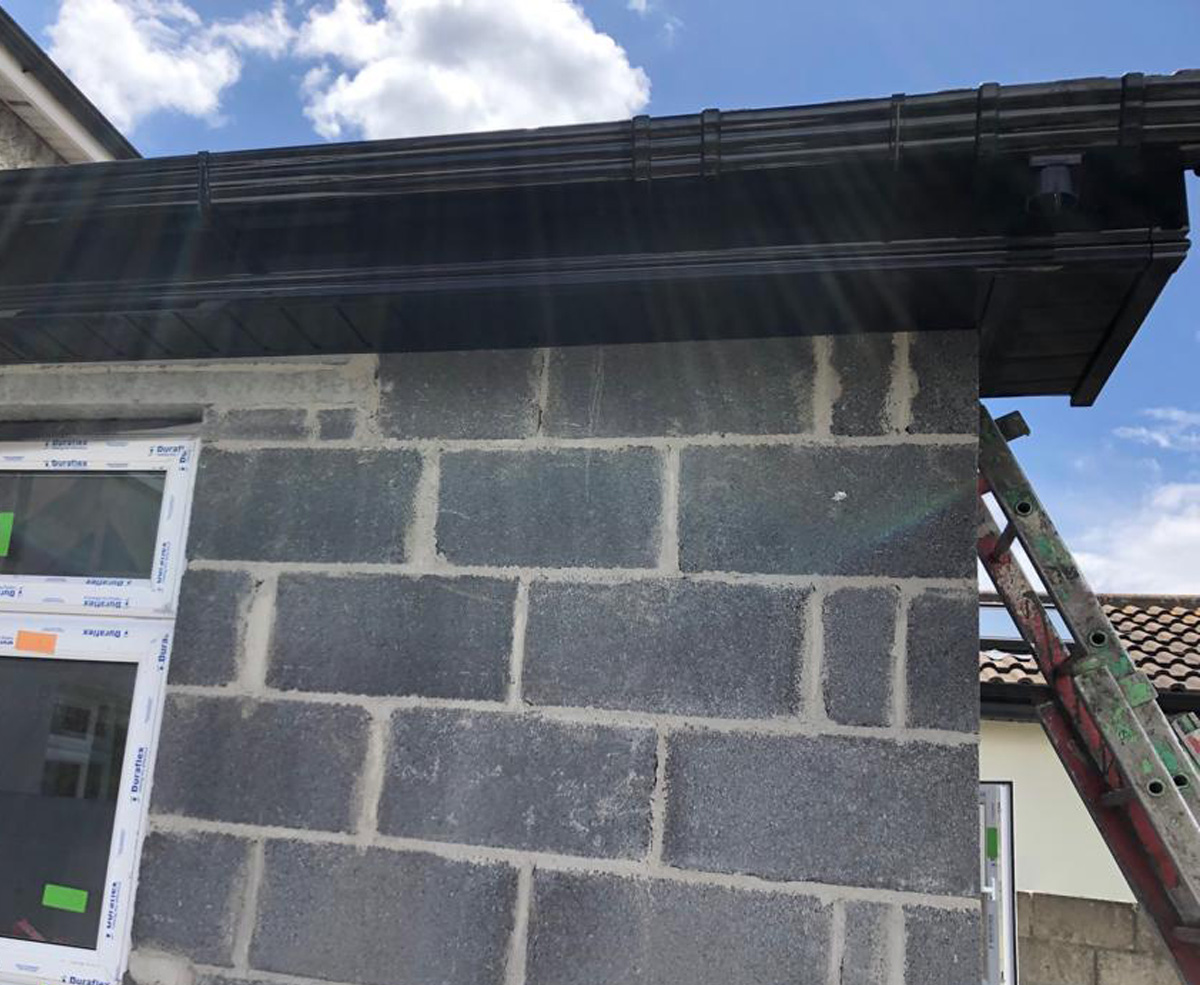 Black Pvcu Fascia Amp Soffit Guttering On An Extension